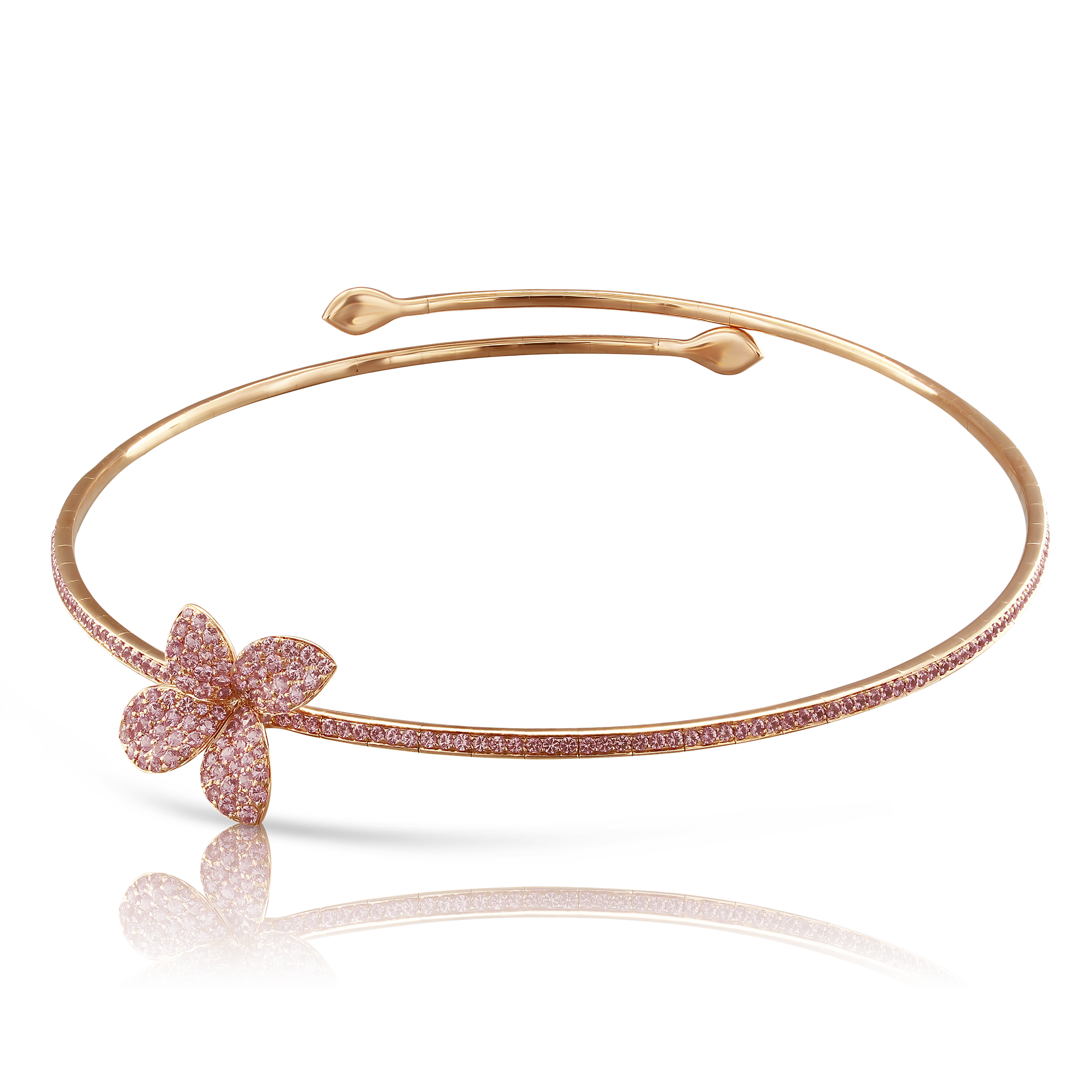 NEW 18k Rose Gold Petit Garden Necklace with Pink Sapphires