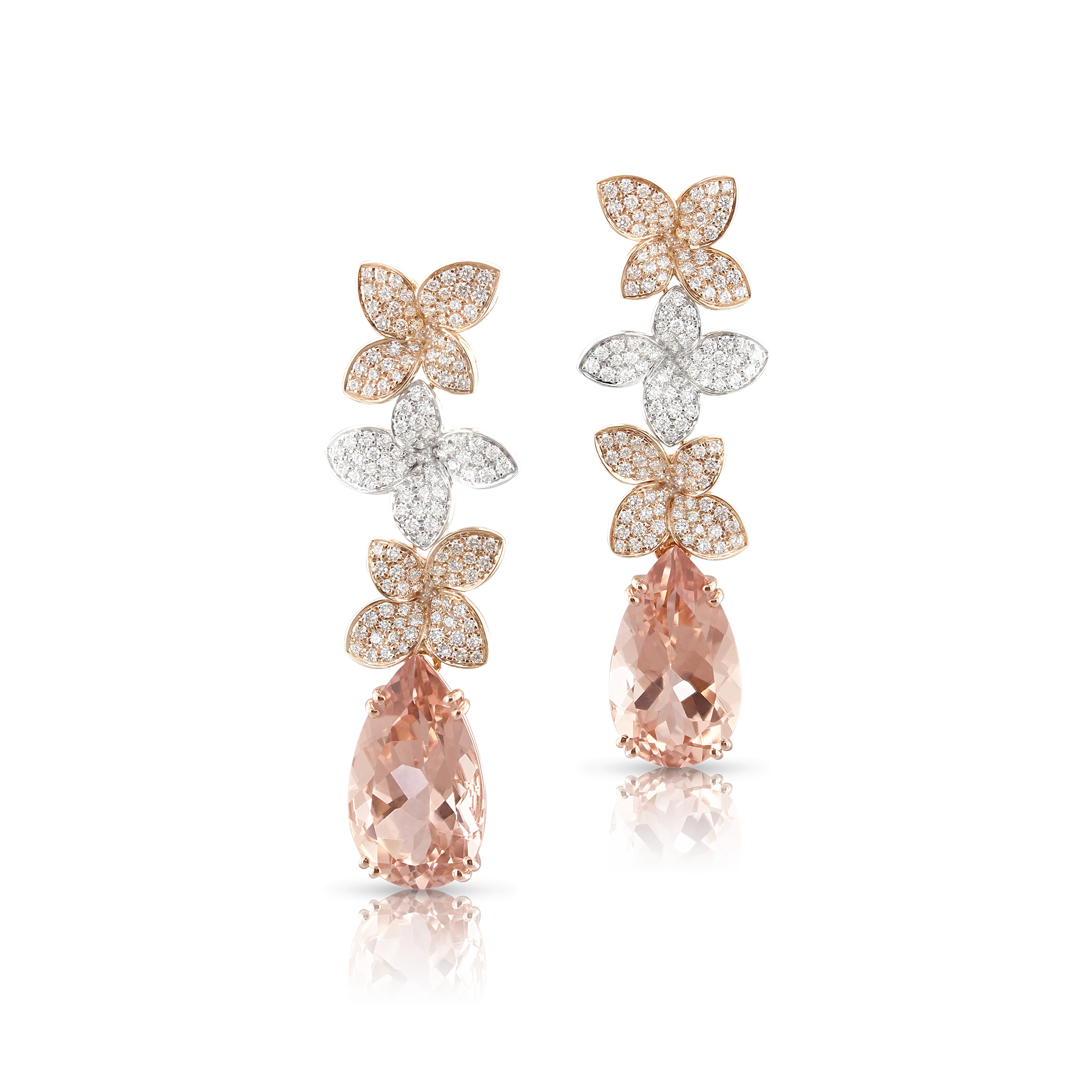 NEW 18k White and Rose Gold Goddess Garden Earrings with White Diamonds, Champagne Diamonds and Morganite