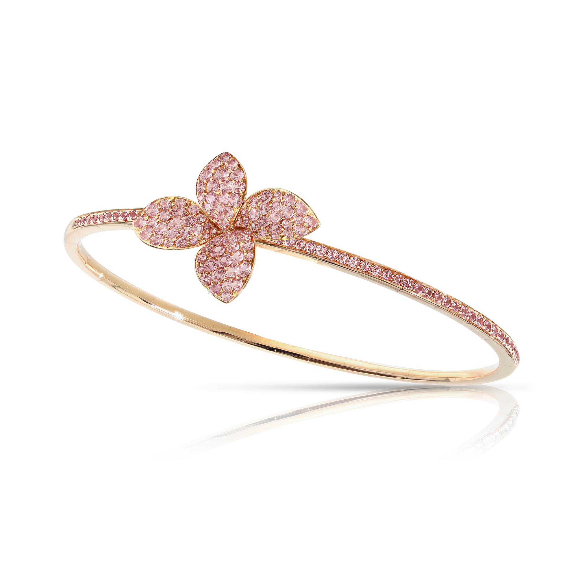 NEW 18k Rose Gold Petit Garden Bracelet with Pink Sapphires