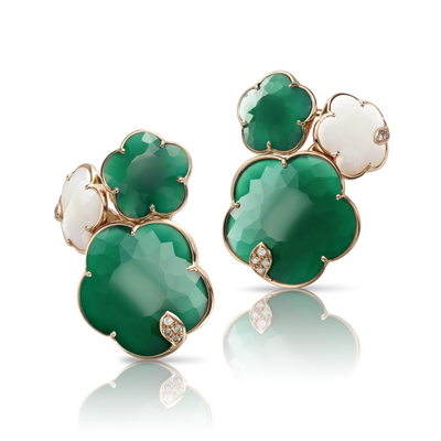 18k Rose Gold Ton Joli Earrings with White Agate, Green Agate, White and Champagne Diamonds