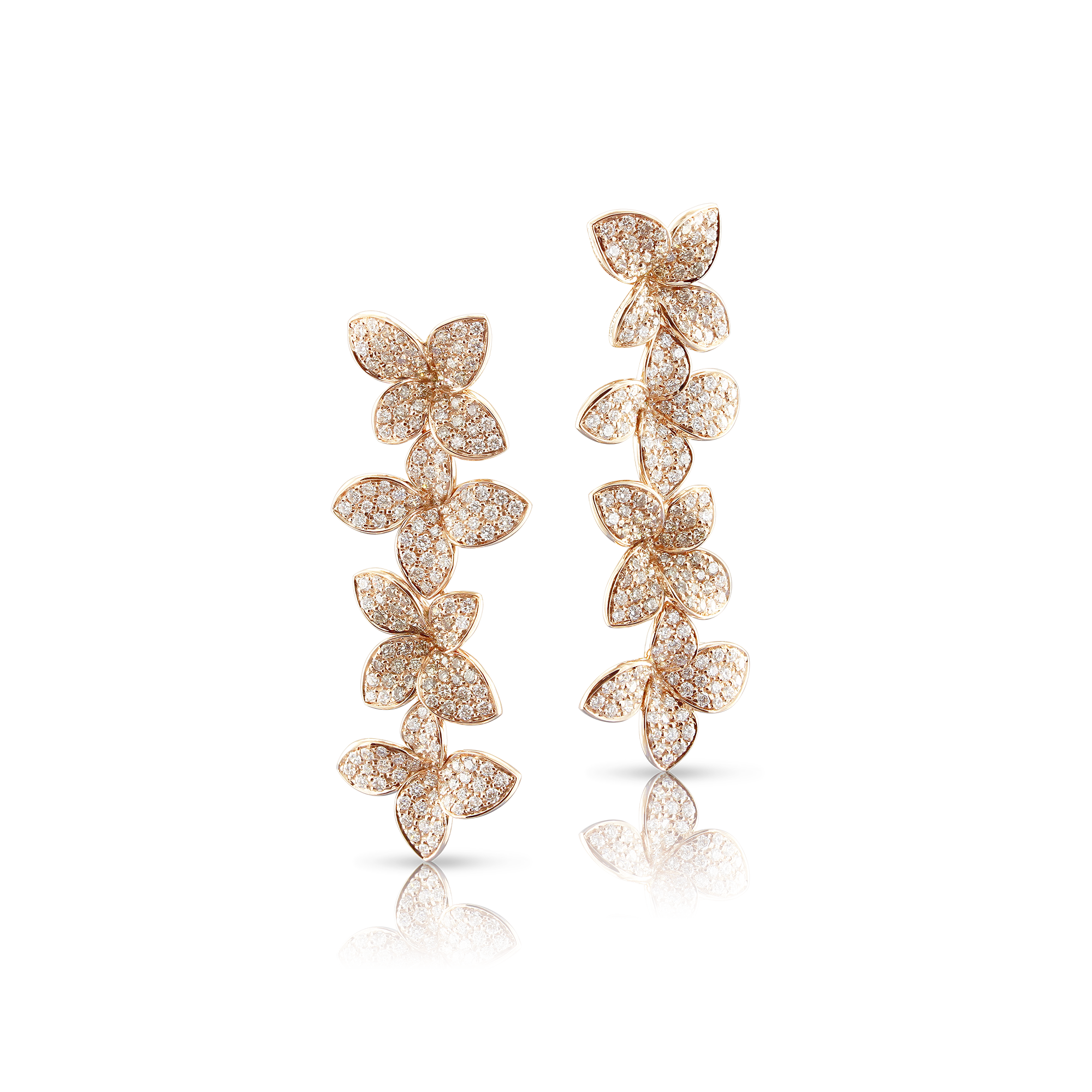 NEW 18k Rose Gold Goddess Garden Earrings with White and Champagne Diamonds