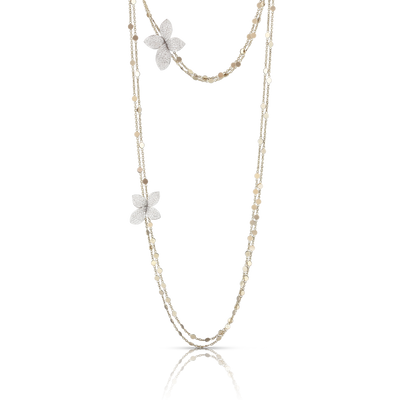 NEW 18k White Gold Giardini Segreti Necklace with Diamonds