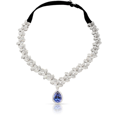 18k White Gold Goddess Garden Necklace with White Diamonds, Tanzanite and Velvet Strap