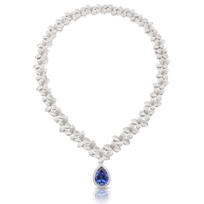 18k White Gold Goddess Garden Necklace with White Diamonds and Tanzanite