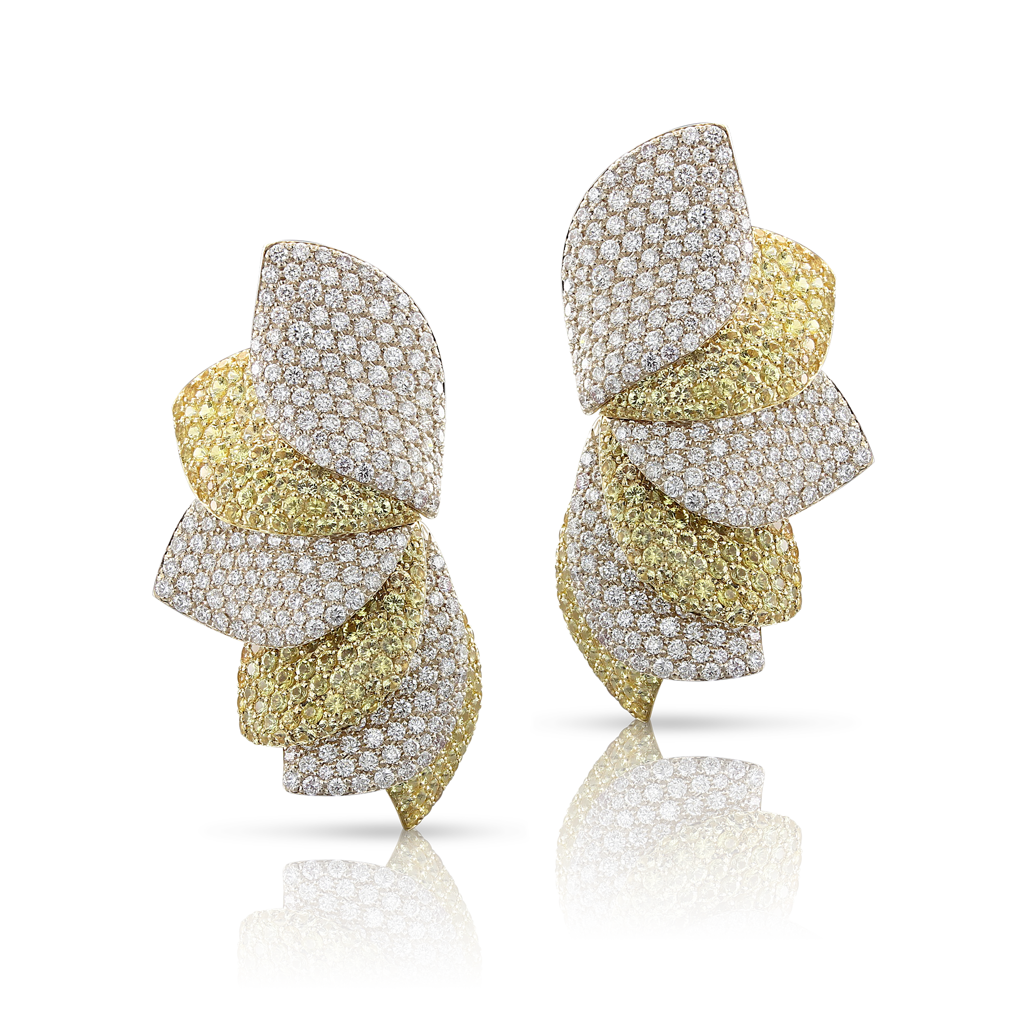 18k White and Yellow Gold Aleluiá Earrings with White Diamonds and Yellow Sapphires