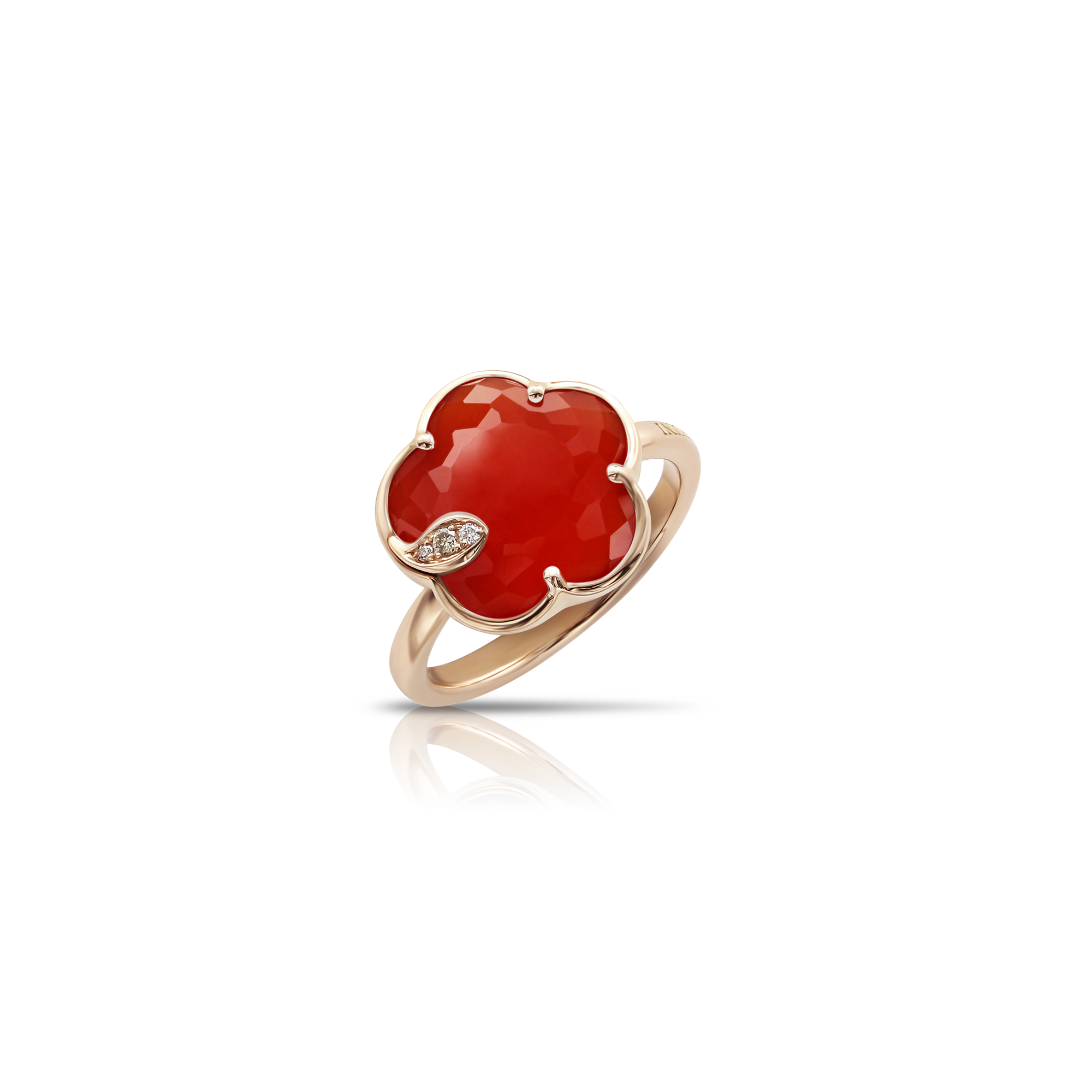 18k Rose Gold Petit Joli Ring with Red Carnelian, White and Champagne Diamonds