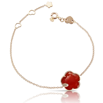 18k Rose Gold Petit Joli Bracelet with Red Carnelian, White and Champagne Diamonds