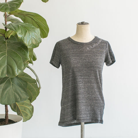 T Shirt - Gray, Embroidered with Be Mighty Courageous