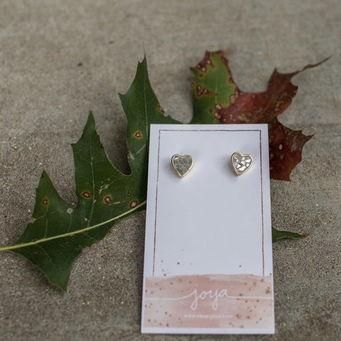 Earrings - Heart White Diamond Stud