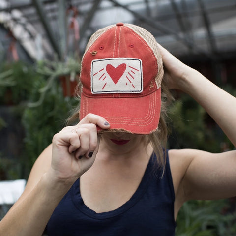 Hat - Distressed Red Trucker