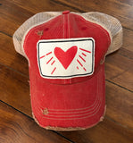 Distressed Red Trucker Hat