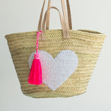 Tote Bag - Large Double Strap, White Sequin Heart