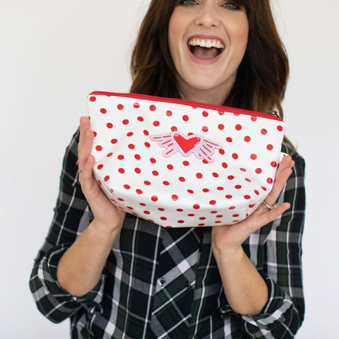 Valentine's Day - Oil Cloth Pouch - White with polka dots