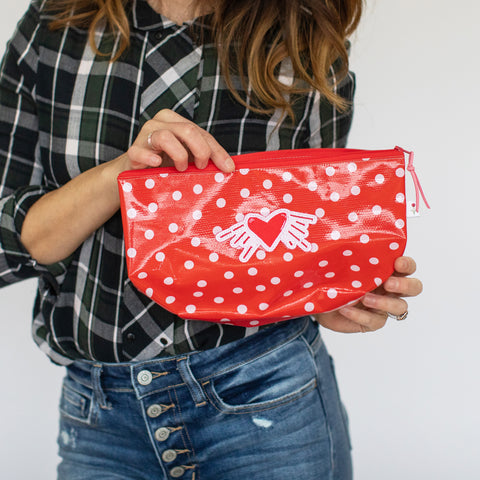 Valentine's Day - Oil Cloth Pouch - Red with polka dots