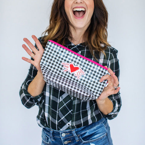 Valentine's Day - Oil Cloth pouch -  Black and White Gingham
