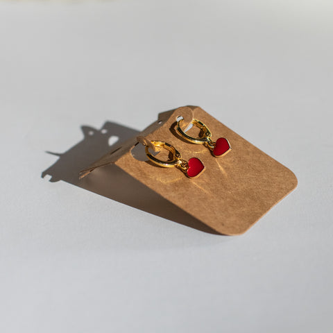 Valentine's Day - Teeny Red Huggie Earrings