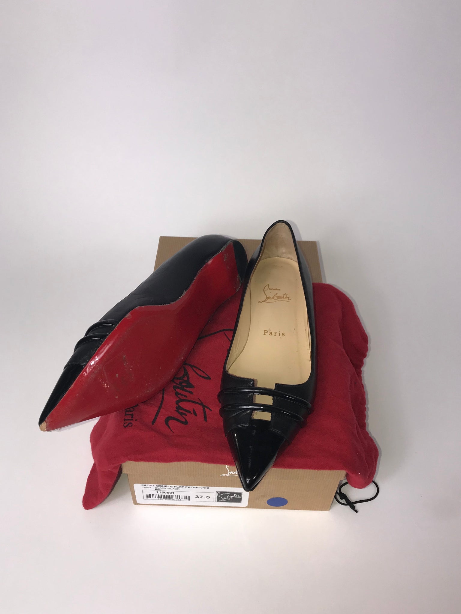 Christian Louboutin Front Double Patent/Soft Leather Flat