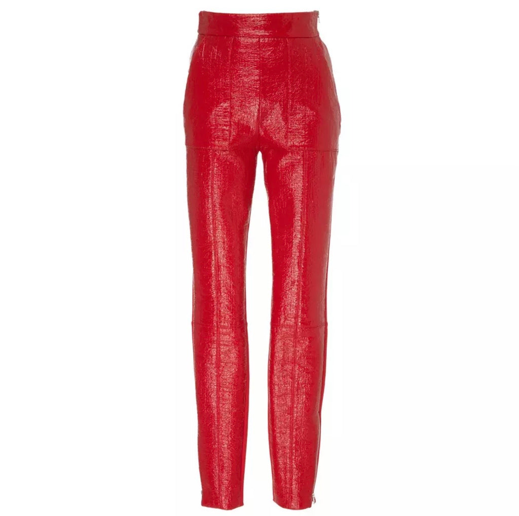 Vivian Red Faux Leather & Silk Pants