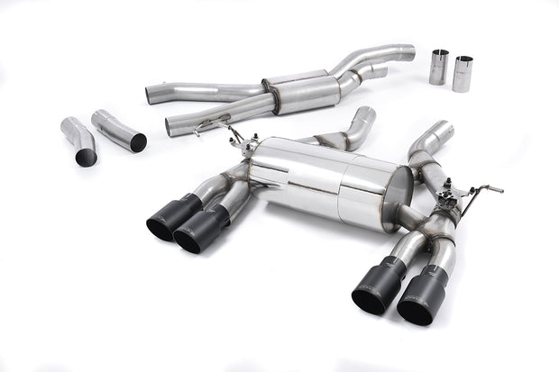 Milltek Sport - BMW M3 F80 Saloon & M3 Competition Saloon 2014+ Cat back Exhaust System Quad Black Tailpipes