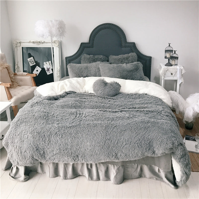 Fluffy Lambswool Quilt Cover and Pillowcases - Grey