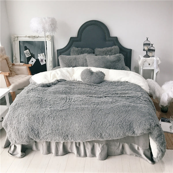 Fluffy Lambswool Quilt Cover Set - Grey
