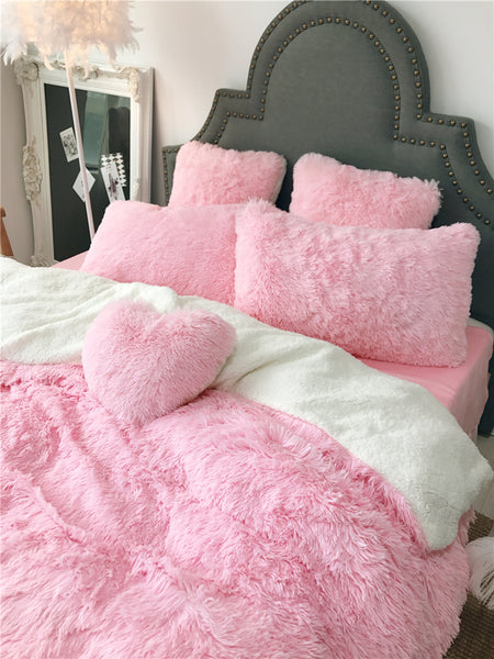 Fluffy Lambswool Quilt Cover Set - Pink Princess