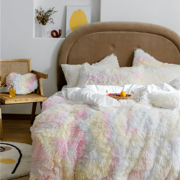 Fluffy Velvet Fleece Quilt Cover and Pillowcases - Rainbow Pale
