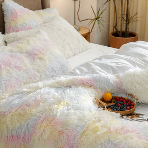 Pale Rainbow Fluffy Blanket