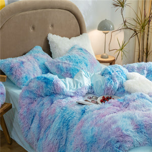 Fluffy Velvet Fleece Quilt Cover and Pillowcases - Rainbow Blue