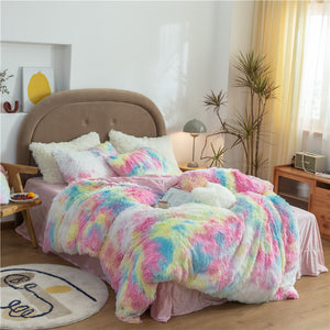 Fluffy Velvet Fleece Quilt Cover and Pillowcases - Rainbow Vivid