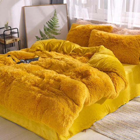 Fluffy Velvet Fleece Quilt Cover and Pillowcases - Mustard