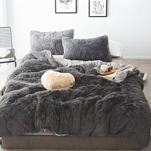 Fluffy Velvet Fleece Quilt Cover Set - Grey
