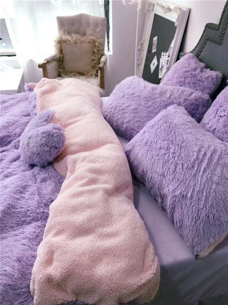 Fluffy Lambswool Quilt Cover Only or with Pillowcases - Light Purple