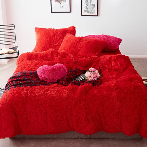 Fluffy Velvet Fleece Quilt Cover and Pillowcases - Red Passion