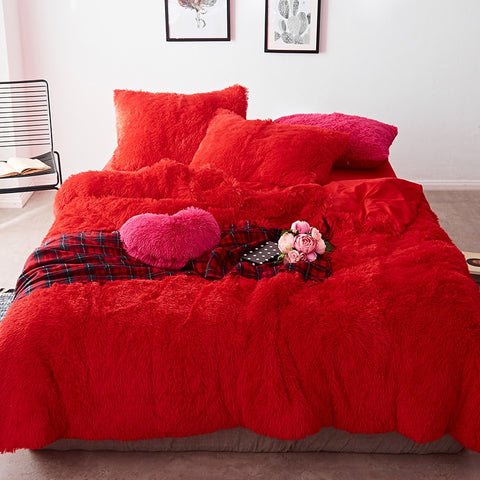 Fluffy Velvet Fleece Quilt Cover Set - Red Passion