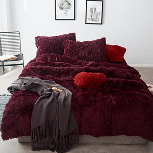 Fluffy Velvet Fleece Quilt Cover Set - Burgundy