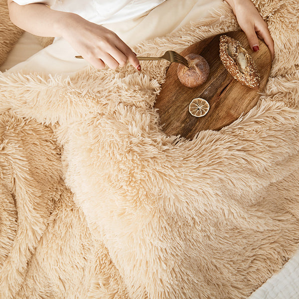 Fluffy Velvet Fleece Quilt Cover and Pillowcases - Camel