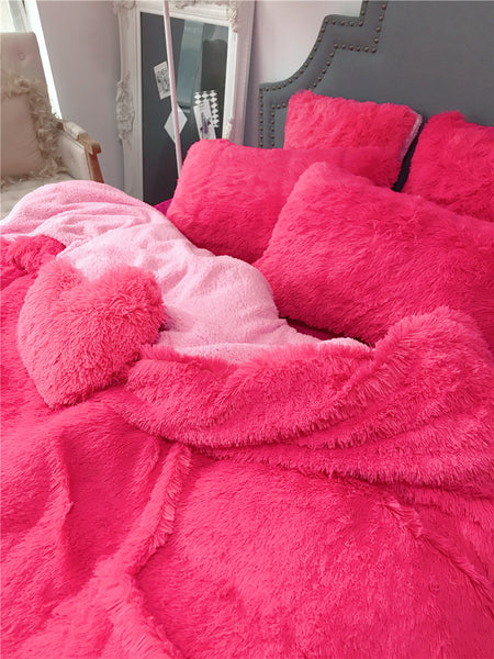Fluffy Lambswool Quilt Cover Only or with Pillowcases - Hot Pink