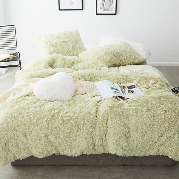 Fluffy Velvet Fleece Quilt Cover Set - Soft Green