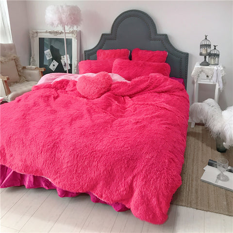 Fluffy Lambswool Quilt Cover Set - Hot Pink