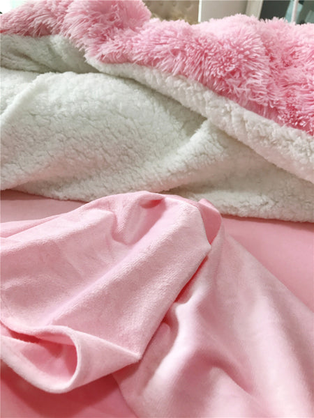 Fluffy Lambswool Quilt Cover Only or with Pillowcases - Pink