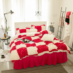 Fluffy Lambswool Quilt Cover Only or with Pillowcases - Red Check