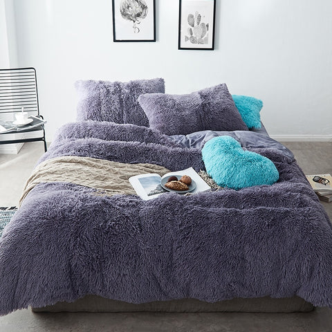 Fluffy Velvet Fleece Quilt Cover Set - Dark Night