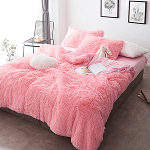 Fluffy Velvet Fleece Quilt Cover and Pillowcases - Pink