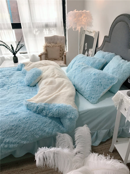 Fluffy Lambswool Quilt Cover Only or with Pillowcases - Soft Blue