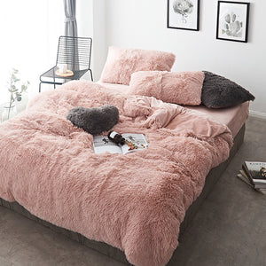 Fluffy Velvet Fleece Quilt Cover and Pillowcases - Rose Gold