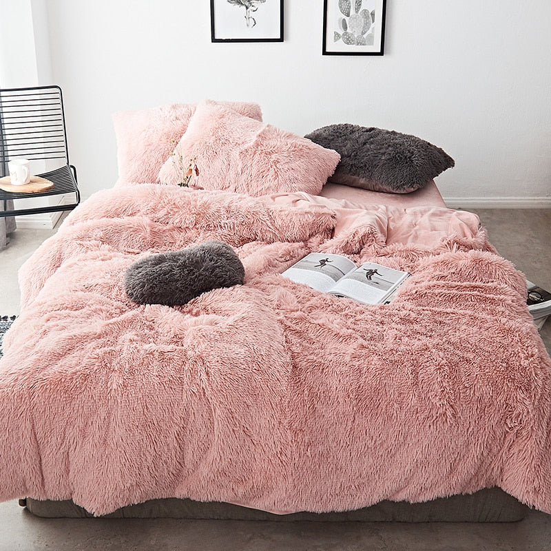 Fluffy Velvet Fleece Quilt Cover Set - Rose Gold