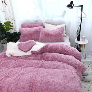 Fluffy Lambswool Quilt Cover Set - Pink Romance