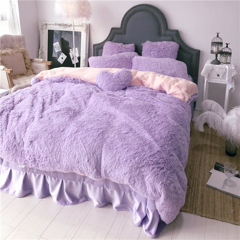 Fluffy Lambswool Quilt Cover Set - Light Purple