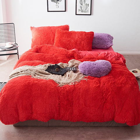Fluffy Velvet Fleece Quilt Cover Set - Watermellow